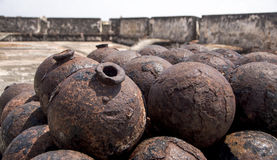 Stack of cannonballs Stock Image