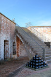 Stack of Canon Balls Fort Macon NC Brick Stairs Stock Images