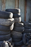 Stack of car tires Stock Photos