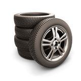 Stack of car tires and car wheel Stock Photo