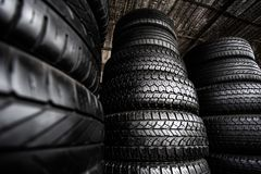Stack of Car Tires royalty free stock images
