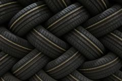 Stack of car tires with shadow deep of view. Great for backgrounds.  stock image