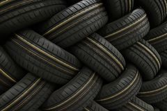 Stack of car tires with shadow deep of view. Great for backgrounds royalty free stock photography
