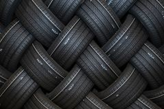Stack of car tires with shadow deep of view. Great for backgrounds stock photos