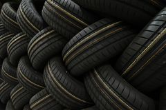 Stack of car tires with shadow deep of view. Great for backgrounds.  stock photography