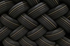 Stack of car tires with shadow deep of view. Great for backgrounds.  royalty free stock photo