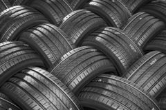 Stack of car tires with shadow deep of view. Great for backgrounds.  royalty free stock images