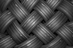Stack of car tires with shadow deep of view. Great for backgrounds.  royalty free stock photos