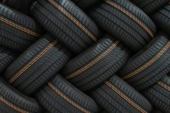Stack of car tires with shadow deep of view. Great for backgrounds.  royalty free stock photography
