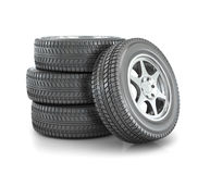 Stack of car wheels i Stock Image