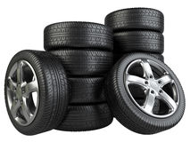 Stack of car wheels Royalty Free Stock Image