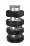 Stack of car wheels and tires. Stock Photo
