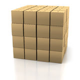 Stack of Cardboard Boxes. Tidy Stack of Cardboard Boxes on a White Background Royalty Free Stock Photo