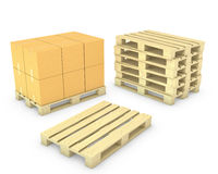 Stack of cardboard boxes and stack of pallets Stock Images