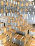 Stack cardboard boxes in warehouse. stock photo