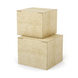 Stack of cardboard boxes  on white background. 3d render Stock Photography