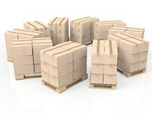 Stack of cardboard boxes on wooden pallet Royalty Free Stock Image