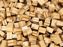 Stack of cardboard delivery boxes or parcels. Warehouse concept Royalty Free Stock Photos