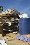 Stack Of Cardbox Boxes With Waste Bin Stock Photo