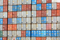 Stack of cargo container. Many cargo container on a big ship Royalty Free Stock Image
