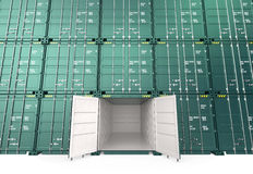 Stack cargo container, one open. Opened cargo container, empty inside Stock Images