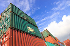 Stack of Cargo Containers Stock Images