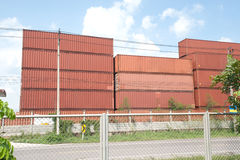Stack of Cargo Containers. Stock Image