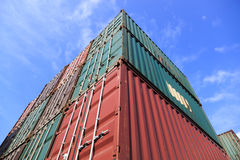 Stack of Cargo Containers at the docks Royalty Free Stock Photography