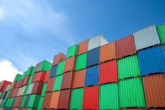 Stack of Cargo Containers at the docks Stock Images