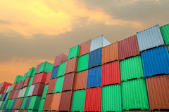 Stack of Cargo Containers at the docks.  stock photo