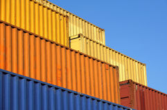 Stack of Cargo Containers at the docks royalty free stock photos