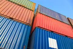 Stack of Cargo Containers at the docks Royalty Free Stock Image
