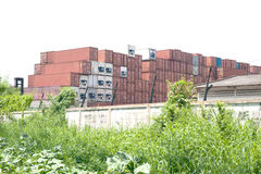 Stack of Cargo Containers. Stock Images
