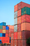 Stack of Cargo Containers  in an intermodal yard Stock Photo