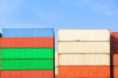 Stack of Cargo Containers  in an intermodal yard Royalty Free Stock Photography