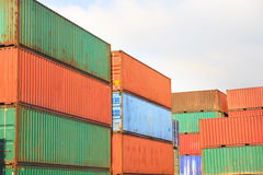 Stack of Cargo Containers  in an intermodal yard Stock Photos