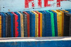 Stack of cargo freight containers on fishing boat Royalty Free Stock Images
