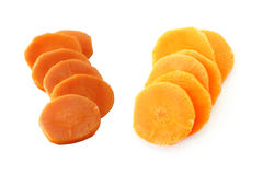 Stack carrot slices. On white Royalty Free Stock Image