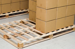 Stack of carton boxes package. On pallet Stock Photography