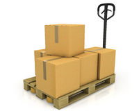 Stack of carton boxes on a pallet with truck Royalty Free Stock Photography