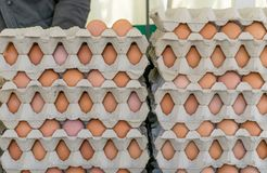 Cardboard box with eggs. Stack with cartons and brown eggs royalty free stock images
