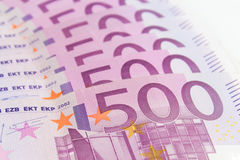 Stack of cash money - 500 euro bills macro Royalty Free Stock Images