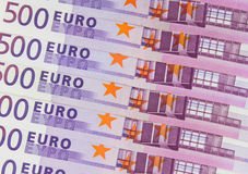 Stack of cash money - 500 euro bills macro Royalty Free Stock Photography