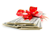Stack of Cash With Red Bow Stock Photos