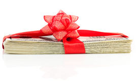 Stack of Cash With Red Bow Royalty Free Stock Photos