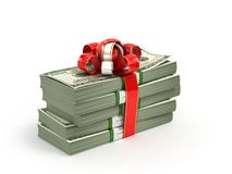Stack of Cash With Red Bow Isolated Royalty Free Stock Images