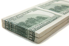 Stack of cash (US Dollars hundreds) royalty free stock photos