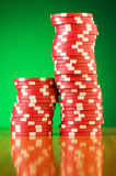 Stack of casino chips against  background Stock Image
