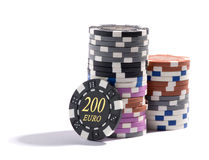 Stack of casino chips in different denominations Royalty Free Stock Image