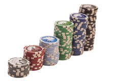 Stack of casino chips Royalty Free Stock Images